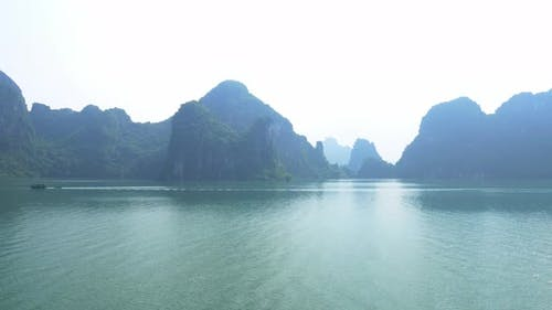 Panoramic view of Ha Long Bay, famous tourism destination in Vietnam