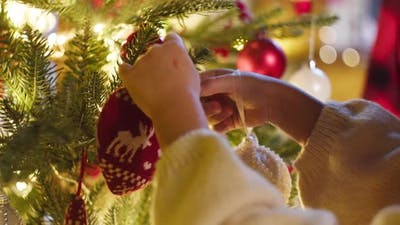 Kids Decorating Christmas Tree in Living Room