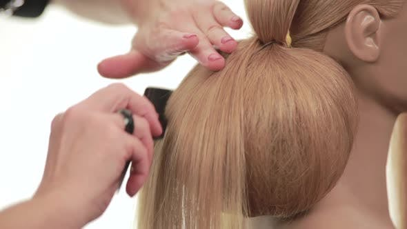 Thumbnail for Ball Formed Out of the Hair. Hairstyle with Shaggy White Hair. Close Up