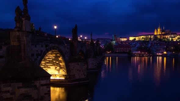 Cover Image for Timelapse of Charles Bridge with Prague Old Town View in Prague City, Czech Republic Day To Night