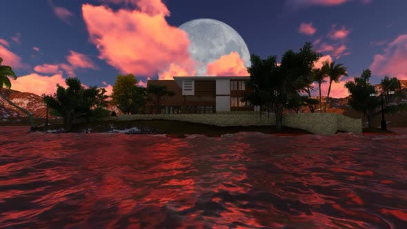 Thumbnail for Panorama of old house at night