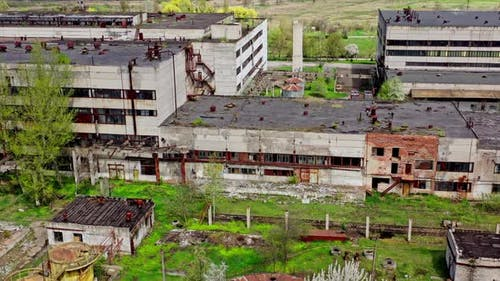 Territory of Abandoned Industrial Area Waiting for Demolition