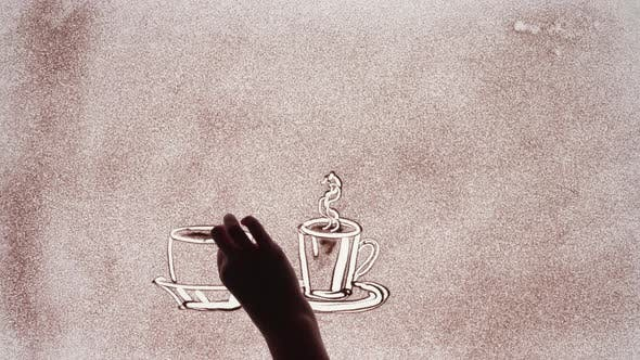 Thumbnail for Beautiful Timelapse Animation of Sand Art Animation Drawing Coffee Mugs