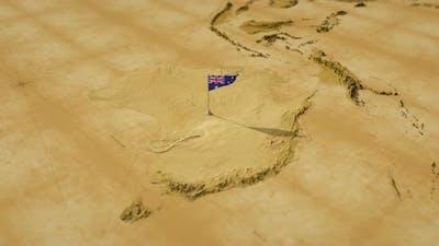 Vintage World Map - Flying Over To Australia
