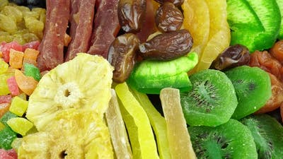 Rotating Assorted Dried Fruits And Candied Fruits