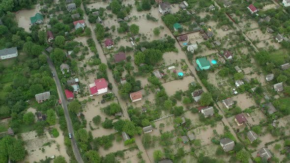 Thumbnail for Aerial Drone View. Flooded Suburbs, Houses in the Water Depiction of Flooding Mudslide. Top View V4