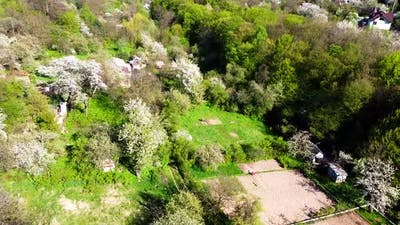 Aerial drone view of a flying over the countryside.