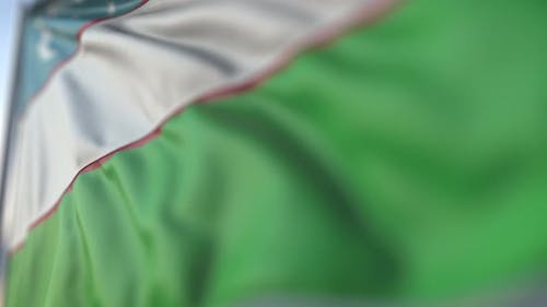 Waving Flag of Uzbekistan