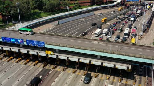 Top view of cross harbor tunnel in Hong Kong