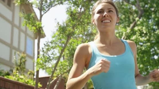 Multi-ethnic woman running