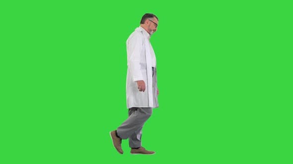 Thumbnail for Sad Male Doctor in Glasses Walking on a Green Screen Chroma Key