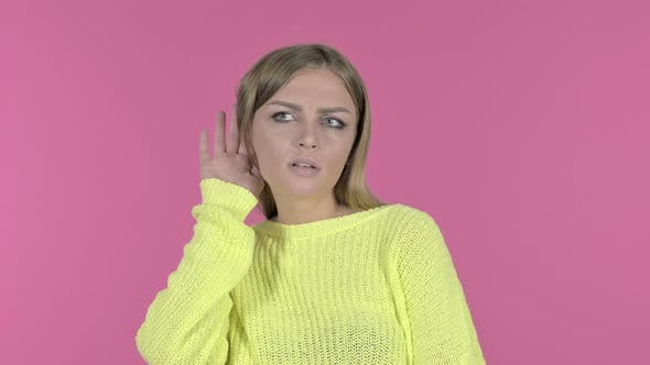 Thumbnail for Surprised Young Girl Trying To Listen Secret, Pink Background