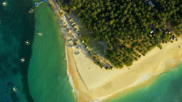 Thumbnail for Aerial View of Paradise White Sand Beach and Azure Sea on Tropical Daku Island in Siargao