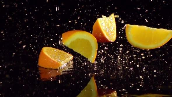 Orange Slices Splashing