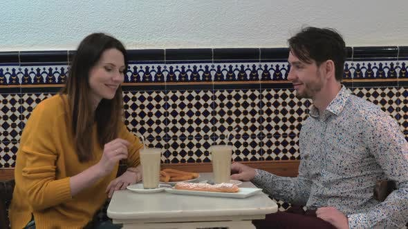 Cover Image for Couple Trying Horchata in Cafe of Valencia