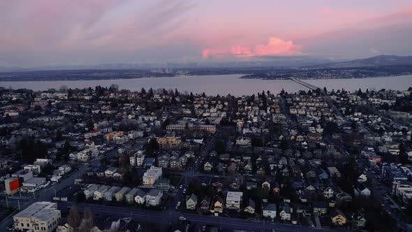 Thumbnail for Pink Sunset Seattle Houses By Lake Washington Aeria L
