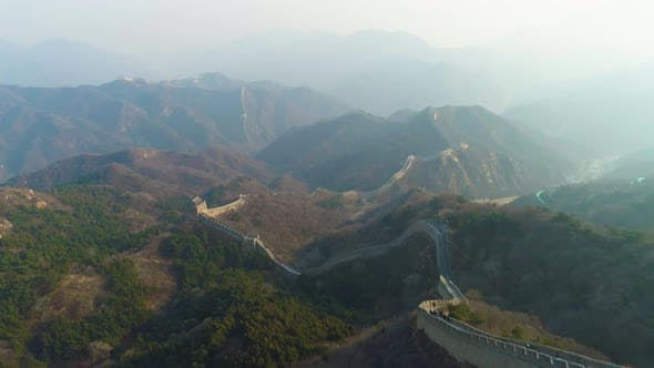 Thumbnail for Great Wall of China and Green Mountains