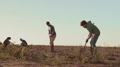 Gardeners Team Working in Field