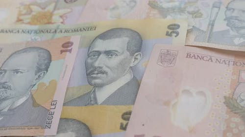 Close-up money of  Romania  background 3840X2160p 30fps UltraHD video - Romanian national currency l