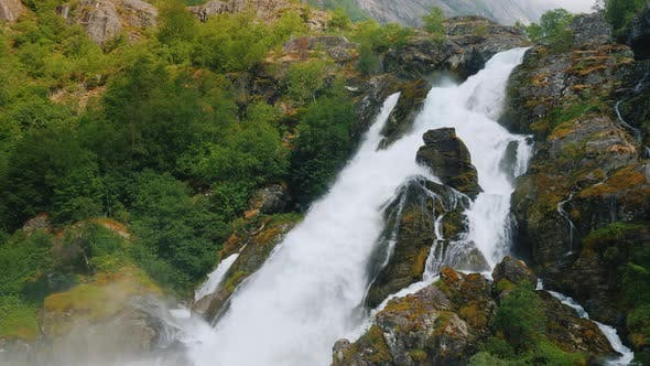 Thumbnail for Beautiful Waterfall From the Waters of the Glacier. The Nature of Norway and Scandinavia