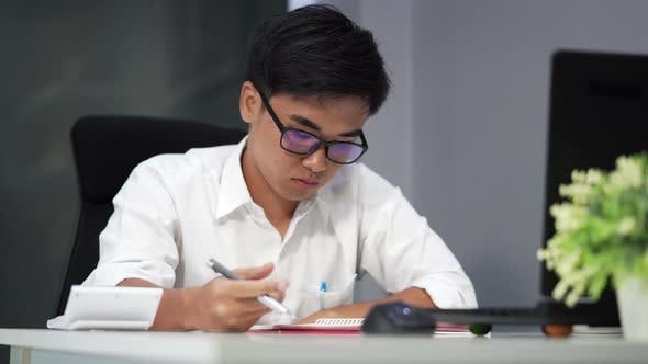 young student learning and thinking