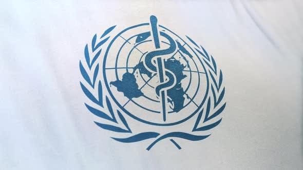 Waving Flag Of Blue World Health Organization Logo On White Background