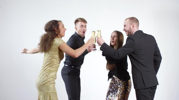 Thumbnail for Happy People Dancing and Celebrating with Champagne