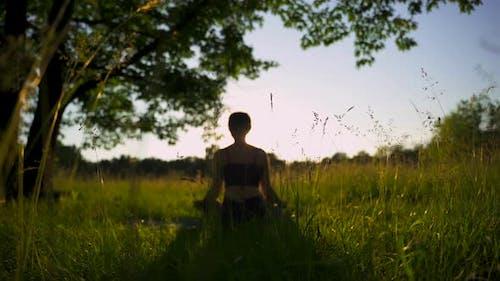 Yoga Woman Meditating in Lotus Pose in Park at Summer Sunrise