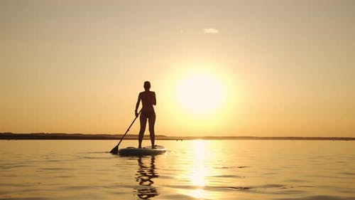 Siluet of Woman Standing on SUP Board and Paddling Through Shining Water Gold Surface