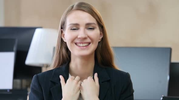 Thumbnail for Overwhelmed Woman in Office Celebrating Success