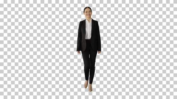 Confident Businesswoman walking towards, Alpha Channel