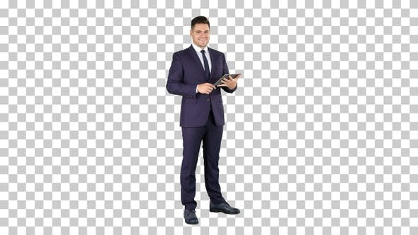 Thumbnail for Expressive young businessman with tablet, Alpha Channel