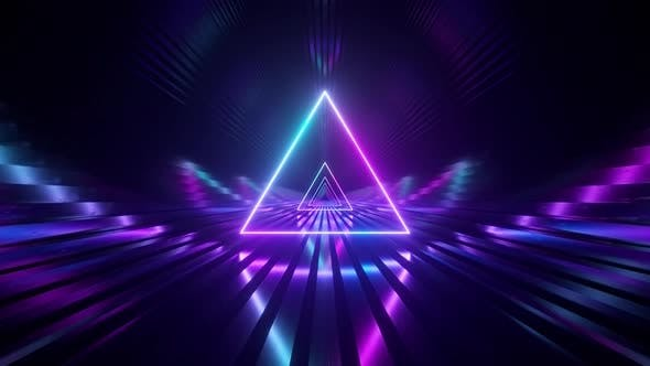 Sci-fi Tunnel with Neon Triangles. An Endless Flight Forward. Modern Neon Lighting. Seamless Loop 3d