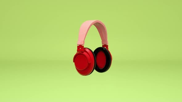 3D animation headphones spinning on a green background, loop animation.