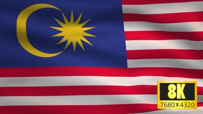 8K Malaysia Windy Flag Background