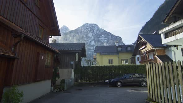 Thumbnail for Pensions and a mountain peak in Hallstatt