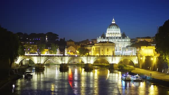 Thumbnail for Lovely night scene with Saint Angel bridge near the Vatican