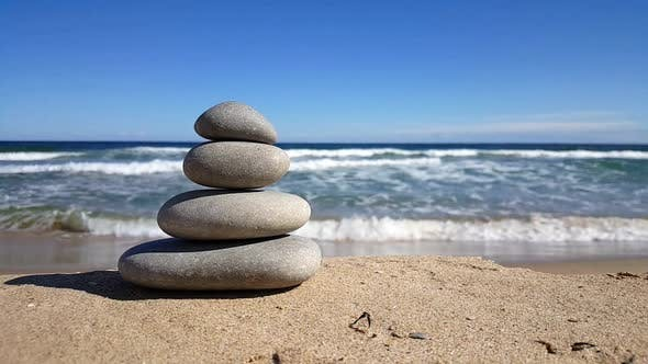 Thumbnail for Stacked zen stones on the beach