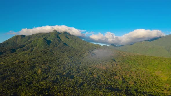Time Lapse: Mountains Covered with Rainforest, Philippines, Camiguin