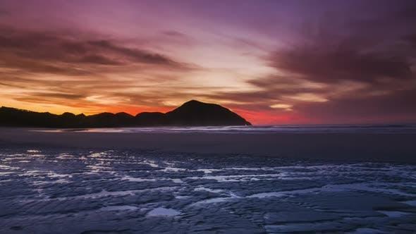 Sunset on beautiful beach timelapse
