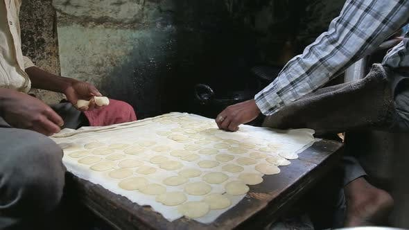 Close view of traditional indian food preparation called puri