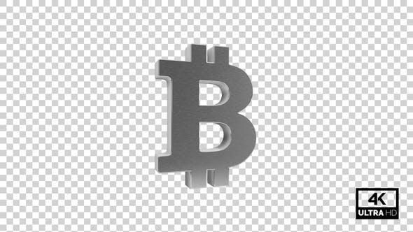 Silver Bitcoin Symbol Seamless Rotate