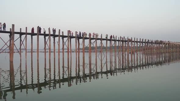 Famous U-Bein Teak Bridge, Mandalay, Myanmar