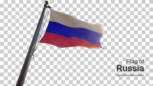 Russia Flag on a Flagpole with Alpha-Channel