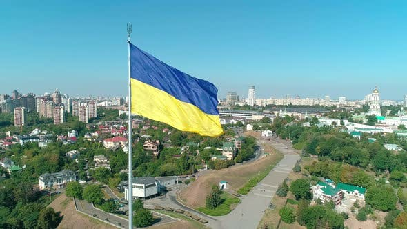 Thumbnail for Aerial Drone Footage of National Ukrainian Flag
