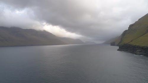 Drone footage of Fjord in Faroe Islands