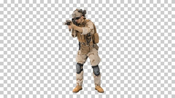 Thumbnail for Army soldier standing his ground aiming, Alpha Channel