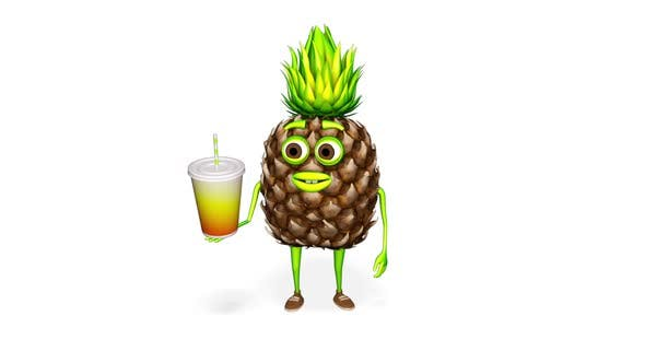 Pineapple Shows Drink Loop On White Background