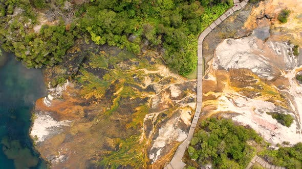Thumbnail for Aerial view above of Orakei Korako Geothermal Park, New Zealand.