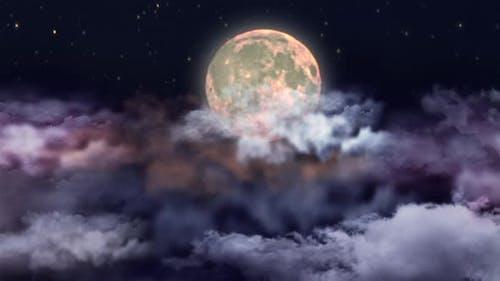 Full Moon In  Night Sky Loop